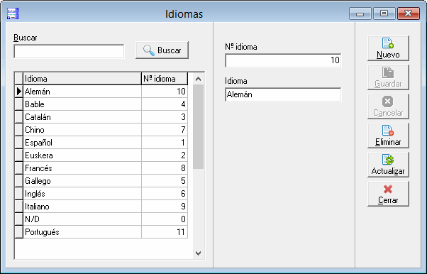 Idioma formulario