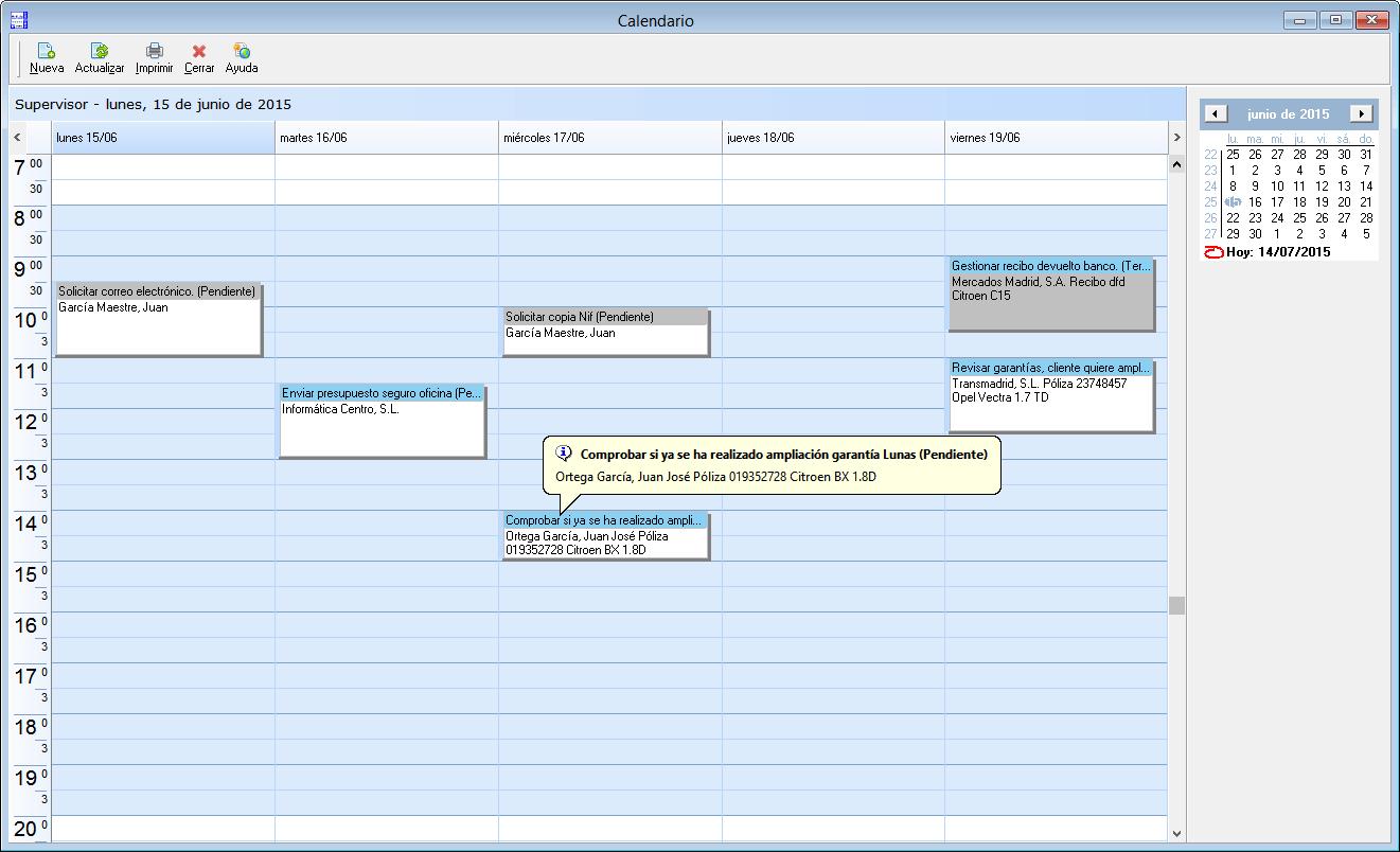 Calendario mediator